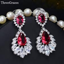 wedding earrings chandelier threegraces vintage bridal earring big chandelier cubic zirconia