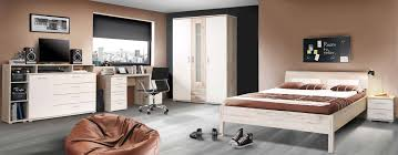 Schlafzimmer Ohne Schrank Gestalten 3 Teiliges Jugendzimmer In Sandeiche Nachbildung Und Weiß Mit