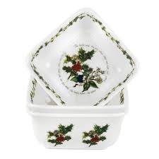 portmeirion the holly u0026 the ivy set of 3 mini square dishes