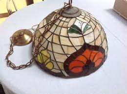 Chandelier Swag Lamp Mid Century Vtg Tiffany Style Hanging Ceiling Chandelier Swag Lamp