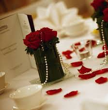 Red Rose Table Centerpieces by Rose And Pearl Wedding Decorations Red Roses Pearl Strings