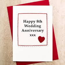handmade 8th wedding anniversay card by arnott cards gifts