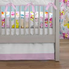 Mini Crib Dust Ruffle by Watercolor Floral 3 Piece Crib Bedding Set Carousel Designs