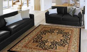 oriental black brown ivory red persian medallion area rug border