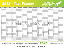 printable annual planner year planner calendar 2018 vector annual stock vector 675466183