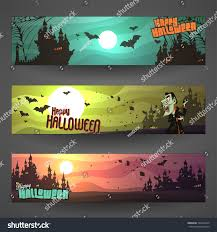 Set Customizable Halloween Vector Banners Cartoon Stock Vector