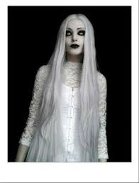 extra long grey ghost costume wig halloween horror straight