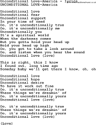 Love Is Unconditional Quote by Unconditional Love Lyrics Top Ten Quotes