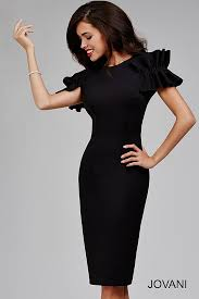 open back fitted short simple jersey dress with ruffled shoulders