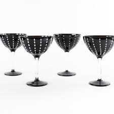 cocktail glass set zafferano perle black cocktail glasses set of 4 fatto a mano