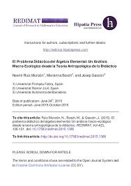 el problema didáctico del álgebra elemental un análisis macro