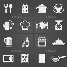 kitchen icon kitchen icons on black background vector by golovarot graphicriver