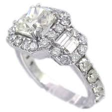 18k white gold cushion cut diamond engagement ring art deco design