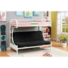 Loft Bed With Futon Furniture Of America Capelli Metal Loft Bed In White Lofts
