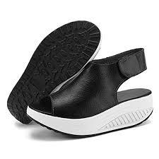 Comfort Sandals For Walking Shake Women U0027s Shape Ups Leather Comfort Peep Toe Walking Wedges
