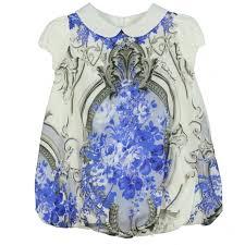 roberto cavalli kids baby girls white dress with blue floral print
