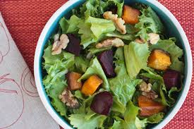 winter salad with escarole and butternut squash and beets what