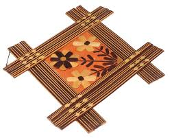 wholesale home decor items wall hanging in bamboo u2013 flower motifs u2013 shades of brown u2013 wall