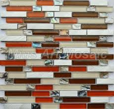 red glass tile backsplash pictures orange kitchen white with brick
