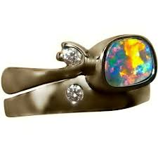 14k gold wedding ring sets opal engagement ring and wedding ring set with diamonds flashopal