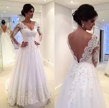 j153 back v neck wedding gowns lace long sleeve wedding