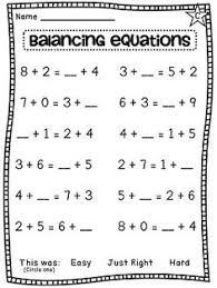 frebbie balancing equations assessment first grade 1st grade