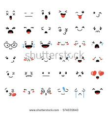 doodle emoticon set lovely kawaii emoticon doodle stock vector 574035640