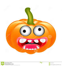 crazy halloween pumpkin cartoon character with eyes and mouth