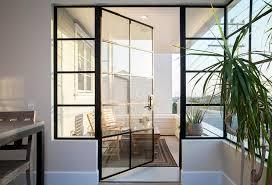 steel and glass balcony door transitional deck patio