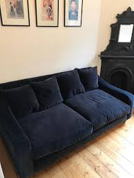 deep blue velvet sofa medium navy blue velvet sofa matching footstool available in