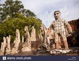 sculptures at the rock garden chandigarh punjab haryana