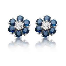 diamond earrings uk sapphire and diamond gold stud earrings swag uk jewellers