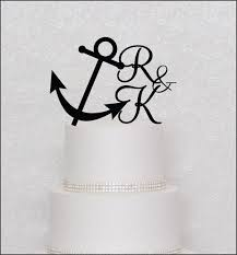 anchor wedding cake topper anchor with initials monogram wedding cake topper in black gold