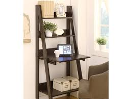 Leaning Ladder Bookshelves by Furniture Espresso Stained Wooden Leaning Ladder Shelf Built In