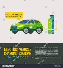 electric vehicles electric car charging station service electric stock vector