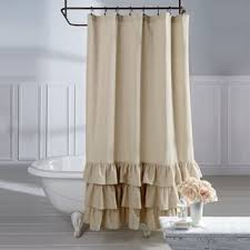 Shower Curtains by Veratex Grand Luxe Vintage Beige Linen Ruffle Shower Curtain