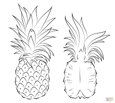 pineapple outline coloring page of pineapple fruit for kids 110