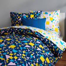 shapes navy pastel duvet cover unison