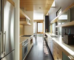 Contemporary Galley Kitchen Galley Kitchen Lighting Contemporary With Modern Sled Base Counter