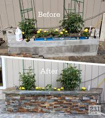 Diy Patio Furniture Cinder Blocks Diy Slate Ledger Stone Planter Boxes With A Bench Boxes Built