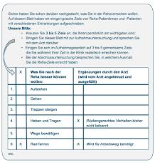 Bad Bevensen Klinik Formulierungsregeln Arbeitsbuch Reha Ziele