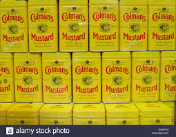 coleman s mustard cans of colman mustard in window of colman s mustard shop museum