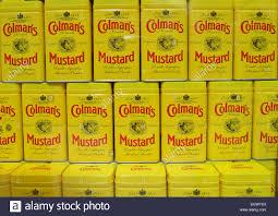 colemans mustard cans of colman mustard in window of colman s mustard shop museum