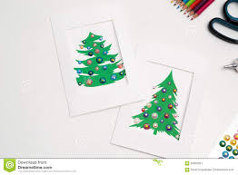 decorated christmas cards handmade new year decorations stock