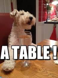 Table Meme - a table laughing dog drinking wine at a table meme on memegen