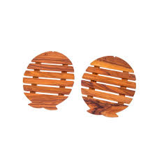 olive wood kitchen utensils handmade set of 2 wooden pot coasters