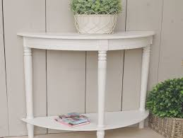 console tables white glossy small half moon console table with