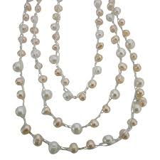 long necklace pearl images Pearls long necklace 68 inches white peach freshwater pearl jpg