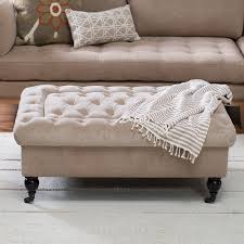 coffee table black leather tufted ottoman throughout the most