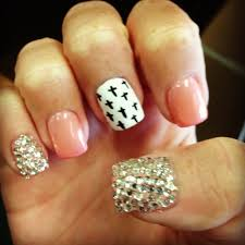 sparkle pink cross nails nails pinterest cross nails makeup